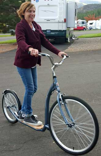 My daughter Mindy trying my new kickbike