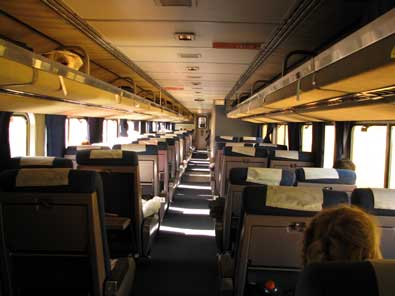 The inside of the upper level of the coach