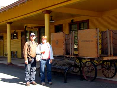 Dale and Gwen waiting at the Colfax depot for train 6