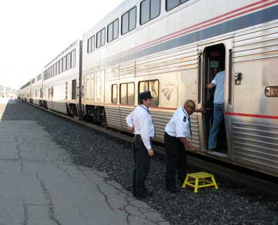 Gary, our conductor help pack up train 6 to depart for Reno