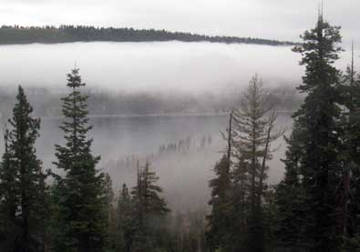Fog over Donner Lake and the Truckee area as we leave for Colfax