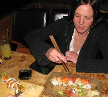 Eating Sushi at the Drunken Monkey Sushi Bar