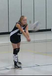 Courtney warming up for the volleyball game
