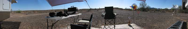 "Looking onto the desert from our ""island"" location, a 180 degree view"