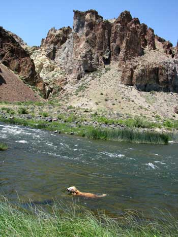 Morgan's first view of the Owyhee River, not the arch in the rock above Morgan