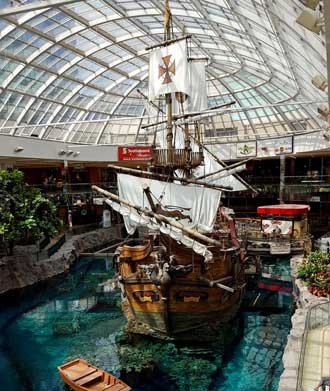 Replica of the Santa Maria inside the mall next to the Sea Lion show