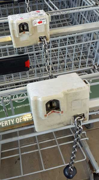 Locking grocery shopping carts, what a great way to teach shoppers to return their carts.