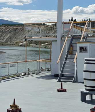 From the deck of the SS Klondike II looking at the Yukon River