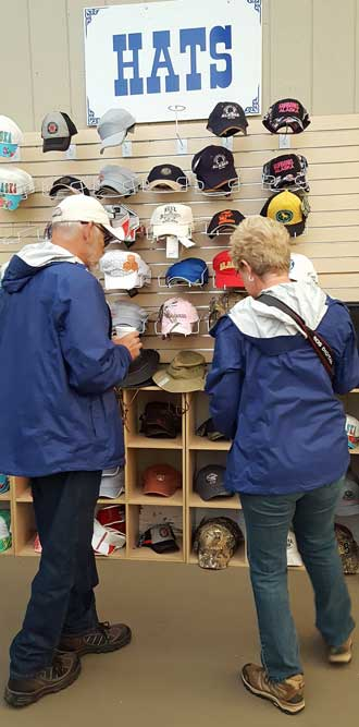 A choice of hats in the gift shop