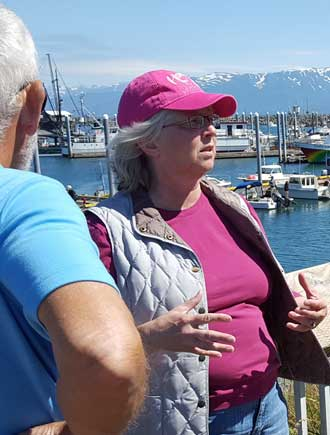 Shelly giving us a tour of Homer docks, town and art.