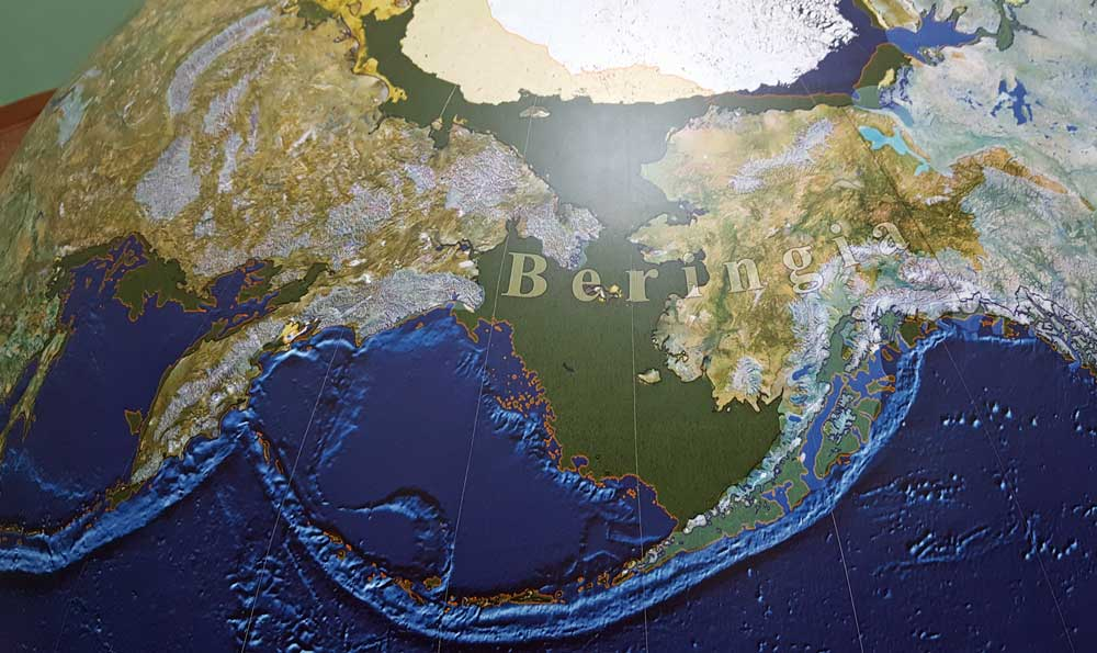 Where Beringia was located and the causes of global climate changes