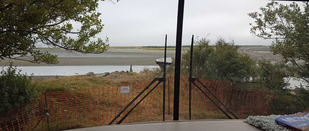 The view from our motorhome toward Willappa Bay at the Bayshore RV Park