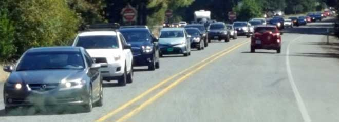 Thousands of cars headed to the coast