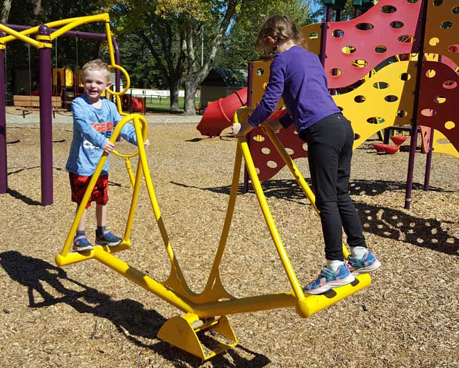 A new style tetter totter on the playground
