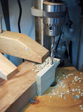 Drilling axle holes for wood wheels