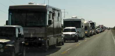 Traffic backed up for three miles into Quartzsite