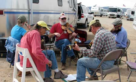 Spontaneous music happening in the dirt parking lot where all the RVs are camped
