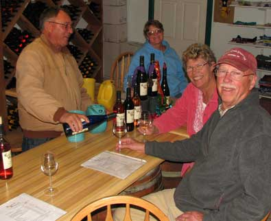 The owner of Tularosa Vineyards welcomes us to the tasting room