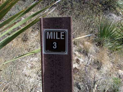 I hikes just beyond the 3 mile marker to take a photo of the end of the canyon, click this photo to see it.