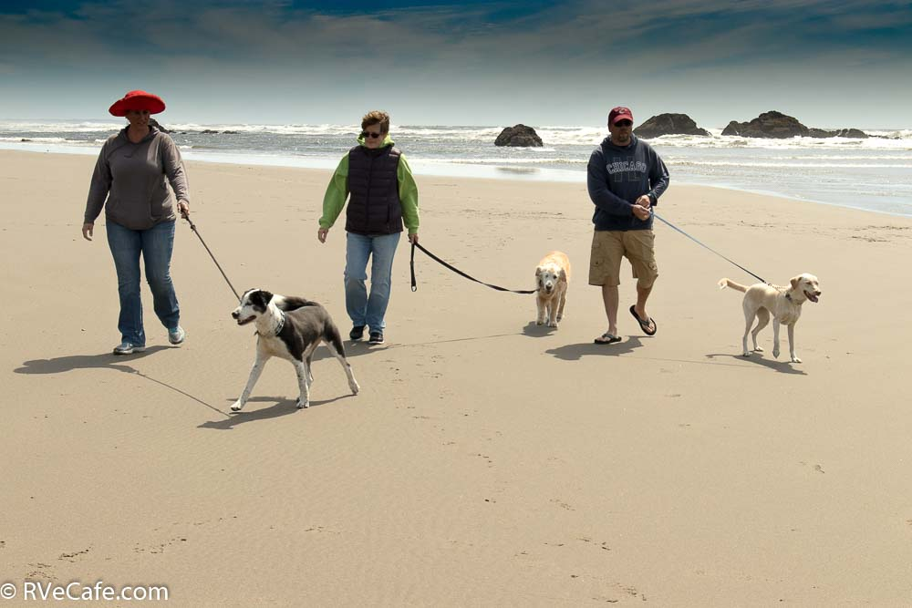 Gwen with Dave and Brook and the 3 dogs on Bandon beach