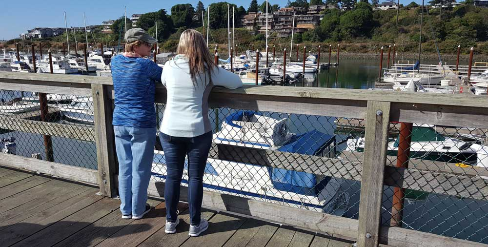 Gwen and daughter, Lesa overlooking the Brookings Marina