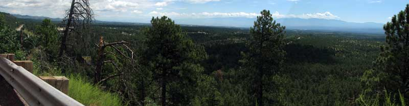 The view onto the Los Alamos mesa. We are camped in the mountains at the distance