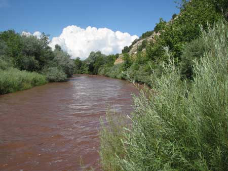 The muddy Pecos river runs through Villanueva State Park