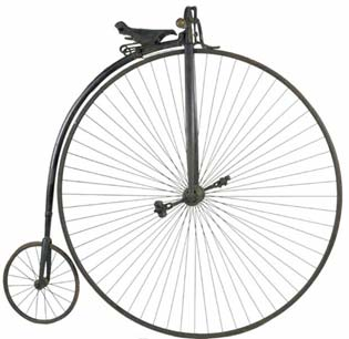 Penny Farthing bicycle used to measure gear ratios