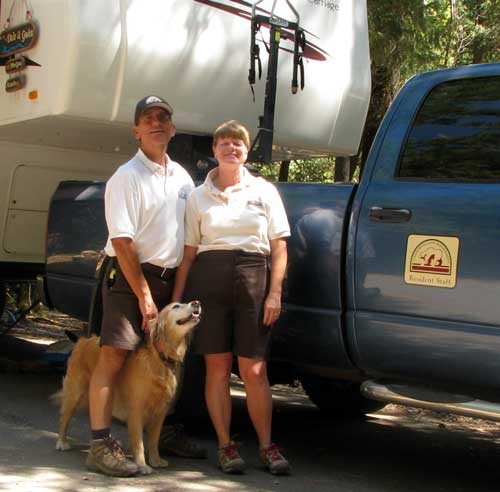 Dale and Gwen with truck decal and in hosting uniforms