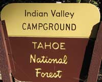Tahoe National Forest, Indian Valley Campground sign