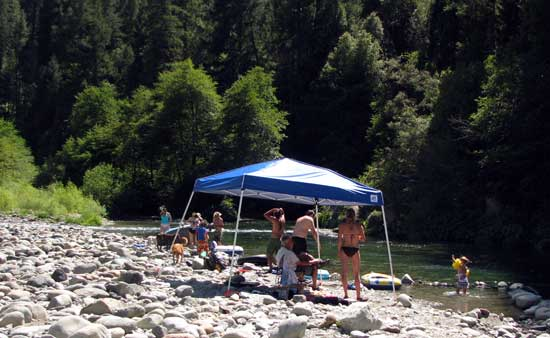 Campers enjoy the North Yuba River