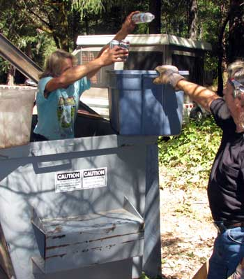 Joe & Bob dumpster dive in our campgrounds