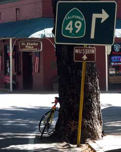 Downtown Downieville with a hard right turn on Hwy 49 onto their famous single lane bridge across the North Yuba River.