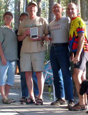 Gwen is on the left, then my friends Janet, Ralph and Eddie at the finish line, Little Bear RV Park