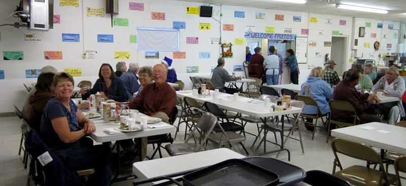 Monday morning breakfast at the Bouse Community Center