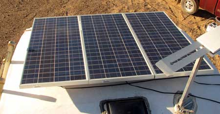 The solar panels installed on Ralph's fifth wheel