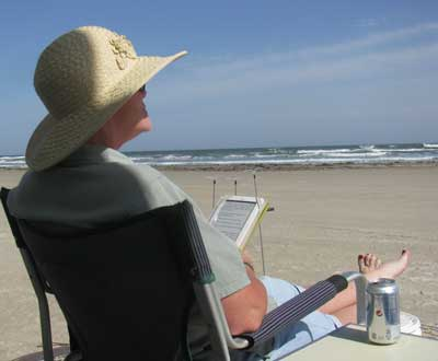 Meanwhile, Gwen is  watching the kite action, drinking a diet soda and reading her nook.
