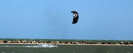kite surfer in the bay between Corpus Christi and Mustang Island