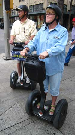 Ralph and Gwen learning to use the Segway for a tour of downtown San Antonio