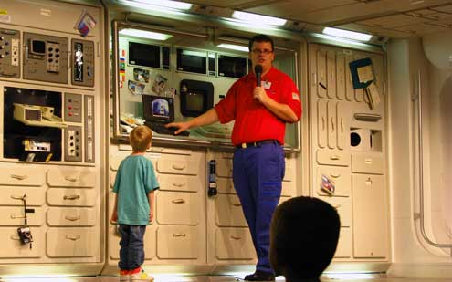 A lecture in real life on a space station with a little help from Timmy