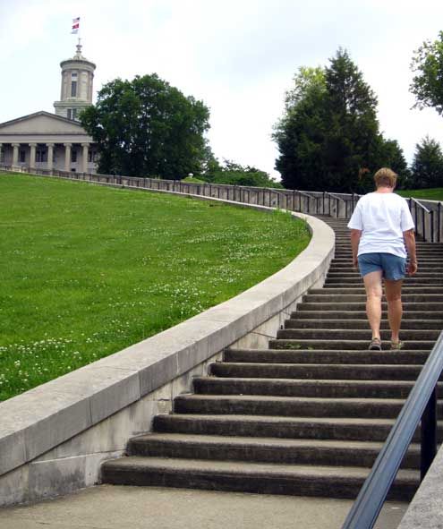 Climbing nearly 200 steps to the Capitol Building