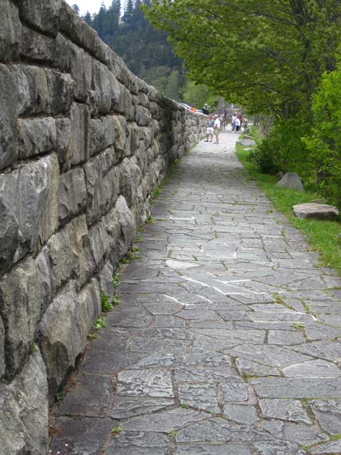 The walkway at Newfound Gap, highest pass in the Smoky Mountains