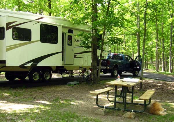 Our free campsite in the Merriweather Lewis Park
