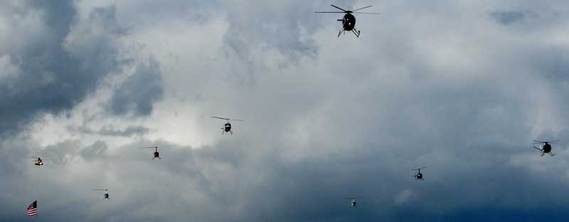 Rescue helicopters visit Medford from all over the state