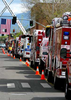 Fire equipment from all over the state visit Medford today