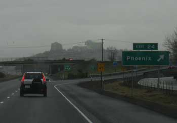 Arriving in Phoenix, Oregon on a rainy day