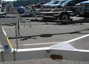Boat trailers are lined up
