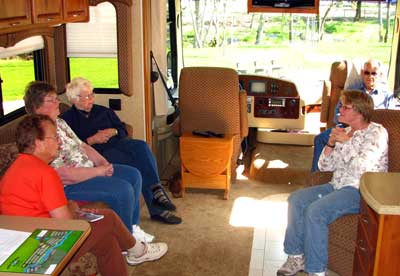 Visiting in Dick and Doris new motor home