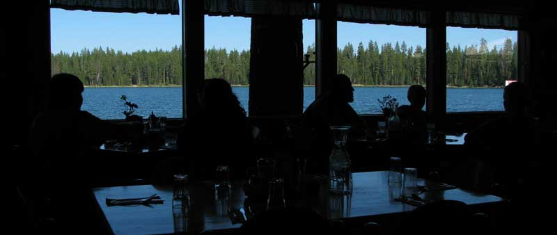 Twin Lakes view from inside the restaurant