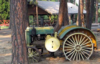 Antique tractor in the park